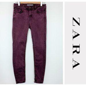 Zara Maroon Burgundy Stretch Skinny Jeggings 10